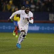 Jozy Altidore, USA, challenged by Luis Canga, Ecuador,   during the USA Vs Ecuador International match at Rentschler Field, Hartford, Connecticut. USA. 10th October 2014. Photo Tim Clayton