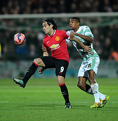Manchester United's Radamel Falcao Garcia battles for the ball with Yeovil Town's Stephen Arthurworrey  - Photo mandatory by-line: Joe meredith/JMP - Mobile: 07966 386802 - 04/01/2015 - SPORT - football - Yeovil - Huish Park - Yeovil Town v Manchester United - FA Cup - Third Round