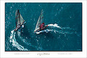 2007 America's Cup custom poster, featuring Alinghi and Team New Zealand.