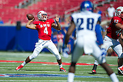 DALLAS, TX - OCTOBER 25:  Matt Davis #4 of the SMU Mustangs drops back to pass against the Memphis Tigers during the 3rd quarter on October 25, 2014 at Gerald J. Ford Stadium in Dallas, Texas.  (Photo by Cooper Neill/Getty Images) *** Local Caption *** Matt Davis