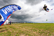 Kites soar over the crowds. Windscape Kite Festival, Swift Current, Saskatchewan.