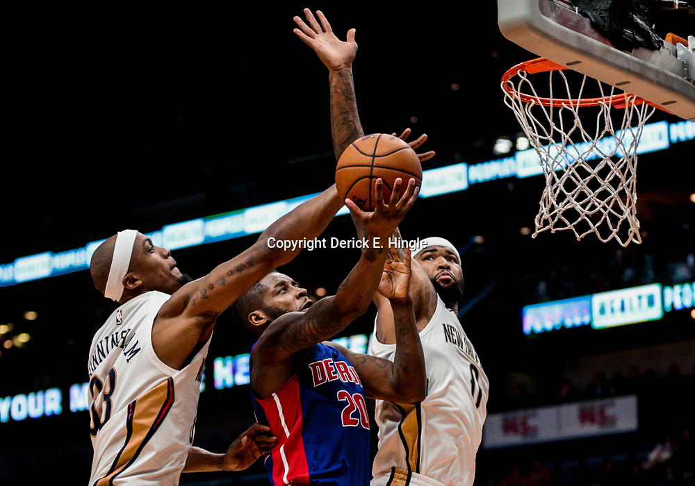 Jan 8, 2018; New Orleans, LA, USA; New Orleans Pelicans forward Dante Cunningham (33) blocks a shot by Detroit Pistons guard Dwight Buycks (20) as center DeMarcus Cousins (0) defends during the first quarter at the Smoothie King Center. Mandatory Credit: Derick E. Hingle-USA TODAY Sports