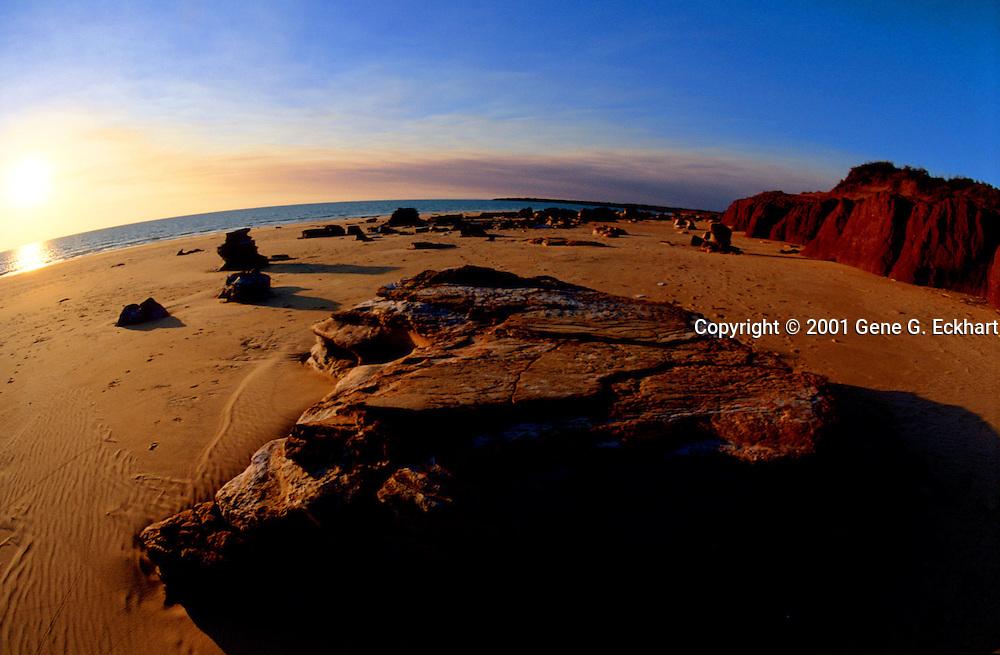 Ridell Beach near Broom - Kimberley Plateau, Western Australia <br /> <br /> The sun sets into the ocean in this beautiful scene on Ridell Beach near Broom in Western Australia.