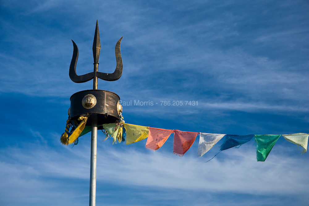 Buddhist prayer flags and the traditional Mongolian Trident symbol are prevalent thoroughout Inner Mongolia