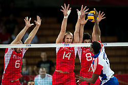 13.09.2014, Centennial Hall, Breslau, POL, FIVB WM, Kuba vs Bulgarien, 2. Runde, Gruppe F, im Bild Danail Milushev bulgaria #6 Teodor Todorov bulgaria #14 Todor Skrimov bulgaria #8 Livan Osoria Rodriguez cuba #9 // Danail Milushev bulgaria #6 Teodor Todorov bulgaria #14 Todor Skrimov bulgaria #8 Livan Osoria Rodriguez cuba #9 during the FIVB Volleyball Men's World Championships 2nd Round Pool F Match beween Cuba and Bulgaria at the Centennial Hall in Breslau, Poland on 2014/09/13. EXPA Pictures © 2014, PhotoCredit: EXPA/ Newspix/ Sebastian Borowski<br /> <br /> *****ATTENTION - for AUT, SLO, CRO, SRB, BIH, MAZ, TUR, SUI, SWE only*****
