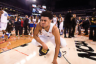 06 APR 2015: Guard Quinn Cook (2) of Duke University has to step away from the celebrations to fight back emotions after the teams victory over the University of Wisconsin during the championship game at the 2015 NCAA Men's DI Basketball Final Four in Indianapolis, IN. Duke defeated Wisconsin 68-63 to win the national title. Brett Wilhelm/NCAA Photos
