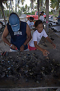 Black pearl farm, Takaroa, Tuamotu Islands, French Polynesia, (Editorial use only)<br />
