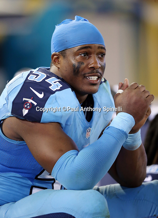 Tennessee Titans inside linebacker Avery Williamson (54) looks on from the sideline during the 2015 week 11 regular season NFL football game against the Jacksonville Jaguars on Thursday, Nov. 19, 2015 in Jacksonville, Fla. The Jaguars won the game 19-13. (©Paul Anthony Spinelli)