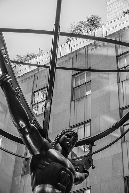 The Rockefeller statue outside of the Rockefeller Center in Manhattan, New York.