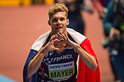 Kevin Mayer of France celebrates winning the Men's heptathlon during the IAAF World Indoor Championships day three at the National Indoor Arena, Birmingham, United Kingdom on 3 March 2018. Photo by Martin Cole.