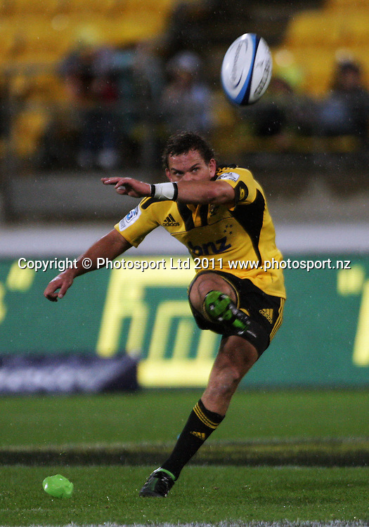 Hurricanes first five Aaron Cruden kicks for goal. Super 15 rugby match - Hurricanes v Lions at Westpac Stadium, Wellington, New Zealand on Saturday, 4 June 2011. Photo: Dave Lintott / photosport.co.nz