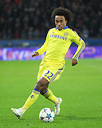 Chelsea's Willian during the Champions League match between Paris Saint-Germain and Chelsea at Parc des Princes, Paris, France on 17 February 2015. Photo by Phil Duncan.