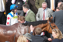 LIVERPOOL, ENGLAND - Thursday, April 8, 2010: Manchester United manager Alex Ferguson celebrates after his horse What A Friend ridden by Ruby Walsh wins the Totesport Bowl Steeple Chase during the opening day of the Grand National Festival at Aintree Racecourse. (Pic by David Rawcliffe/Propaganda)