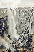 David Livingstone (1813-73) Scottish missionary and explorer. During African travels explored the Zambesi and 'discovered' Victoria Falls, here pictured from the east. Colour-printed wood engraving 1866