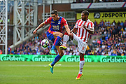 Crystal Palace defender Martin Kelly (34) in action against Stoke defender Glen Johnson (8) during the Premier League match between Crystal Palace and Stoke City at Selhurst Park, London, England on 18 September 2016. Photo by Jon Bromley.