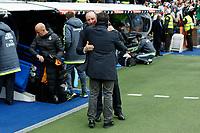 Real Madrid´s coach Rafa Benitez hugs Real Sociedad´s coach Eusebio Sacristan before La Liga match between Real Madrid and Real Sociedad at Santiago Bernabeu stadium in Madrid, Spain. December 30, 2015. (ALTERPHOTOS/Victor Blanco)