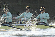 Putney, Great Britain,  CUBC. right to left, True Love. Bow Spenser HUNSBERGER, 2, James STRAWSON, 3. Henry PELLY, approaching the Hammersmith Bend during the 2007 Cambridge University Trial Eights, right, One Night Stand  a few feet down to True Love,  raced over the championship Course from Putney to Mortlake  11/12/2007 [Mandatory Credit Peter Spurrier/Intersport Images] , Rowing Course: River Thames, Championship course, Putney to Mortlake 4.25 Miles, , Varsity Boat Race.