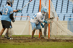 CHAPEL HILL, NC - FEBRUARY 23: Jack Pezzulla #42 of the North Carolina Tar Heels during a game against the Johns Hopkins Blue Jays on February 23, 2019 at Kenan Stadium in Chapel Hill, North Carolina. Hopkins won 11-10. (Photo by Peyton Williams/US Lacrosse)
