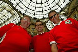 MILAN, ITALY - Friday, September 5, 2003: Wales fans (l-r) Paul Saunders (39, Pontyclun), Jamie Borley (25, Swansea) and Roger Pride (44, Pentyrch) pictured in Galleria Vittorio Emanuele II in Milan. (Pic by David Rawcliffe/Propaganda)