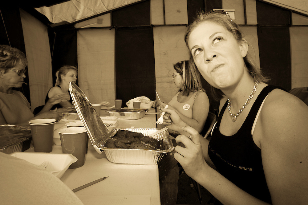 2006 Rattlesnake Round-Up Cook-off judge Terri Heartman of San Antonio, Texas, makes a face after smelling an entry into the Chicken category of competition at Nolan Park in Sweetwater on March 11, 2006.  Heartman met her husband at the 2005 Rattlesnake Round-Up.