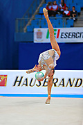 Hayakawa Sakura during qualifying at ball in Pesaro World Cup 1 April, 2016. Sakura is a Japan rhythmic gymnastics athlete born March 17, 1997 in Osaka, Japan. She appeared in Senior competitions in the 2013 season.