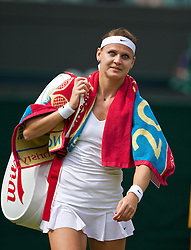 LONDON, ENGLAND - Tuesday, July 1, 2014: Lucie Safarova (CZE) walks off Court No. 1 after winning the Ladies' Singles Quarter-Final match 6-3, 6-1 on day eight of the Wimbledon Lawn Tennis Championships at the All England Lawn Tennis and Croquet Club. (Pic by David Rawcliffe/Propaganda)