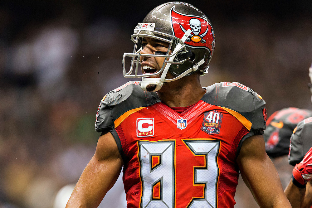 NEW ORLEANS, LA - SEPTEMBER 20:  Vincent Jackson #83 of the Tampa Bay Buccaneers gets excited during a game against the New Orleans Saints at Mercedes-Benz Superdome on September 20, 2015 in New Orleans Louisiana.  The Buccaneers defeated the Saints 26-19.  (Photo by Wesley Hitt/Getty Images) *** Local Caption *** Vincent Jackson
