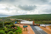 Delivery of a section of the tower of a new wind turbine