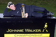 Johnnie Walker Golf Championship 2009 at Gleneagles ..30/08/09.. Swede Peter Hedblom Winner of the Johnnie Walker Classic on the 18th, after the FInal Round of the Johnnie Walker Classic Golf Championship..Picture by Mark Davison/ PLPA
