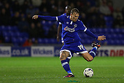 Lee Erwin of Oldham Athletic has a shot during the EFL Sky Bet League 1 match between Oldham Athletic and Scunthorpe United at Boundary Park, Oldham, England on 18 October 2016. Photo by Simon Brady.