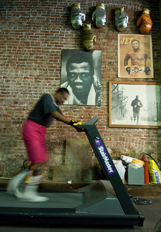 Joe Frazier in his Gym in Philadelphia
