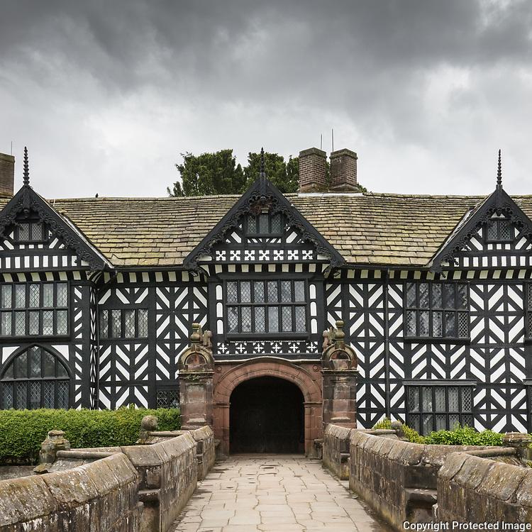 Speke Hall, a wood-framed Tudor manor built 1530-1598, Merseyside.