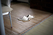 indoor slippers inside a Japanese house with a tatami flooring