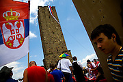 "Serbian anniversary celebrations at the site of the 1389 ""Battle of Kosovo"" near Pristina, Kosovo. ..Gazimestan, Kosovo, Serbia."