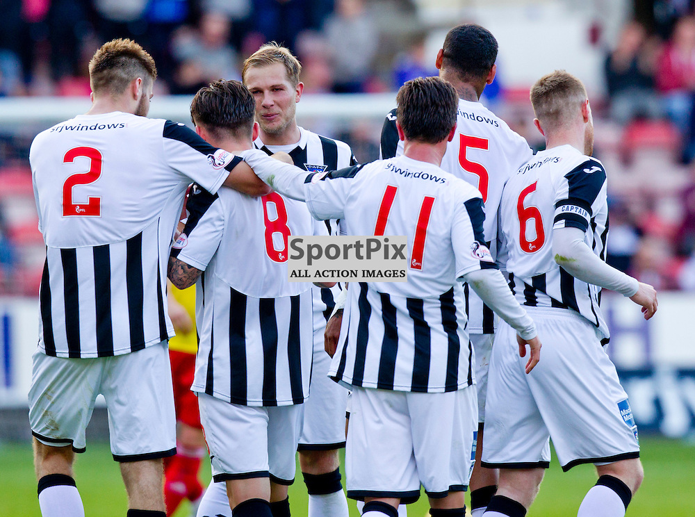 Dunfermline Athletic v Albion Rovers SPFL League One Season 2015/16 East End Park 03 October  2015<br /> Rhys McCabe (8) is congratulated after his goal<br /> CRAIG BROWN | sportPix.org.uk