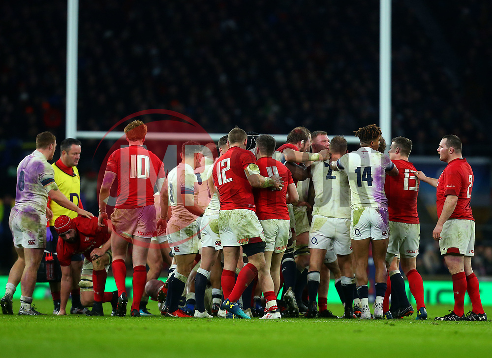 A fight breaks out between England and Wales players - Mandatory by-line: Robbie Stephenson/JMP - 10/02/2018 - RUGBY - Twickenham Stoop - London, England - England v Wales - Women's Six Nations