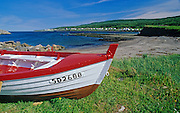 Fishing boat on shore of Gaspe Peninsula on Golf of St. Lawrence<br /> Anse-A-AValleau<br /> Quebec<br /> Canada