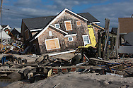 Brick Beach, November 3, 2012, A home knocked off its' foundation  following the storm surge produced by  Hurricane Sandy. <br />  The Jersey shore took the brunt of Hurricane Sandy.