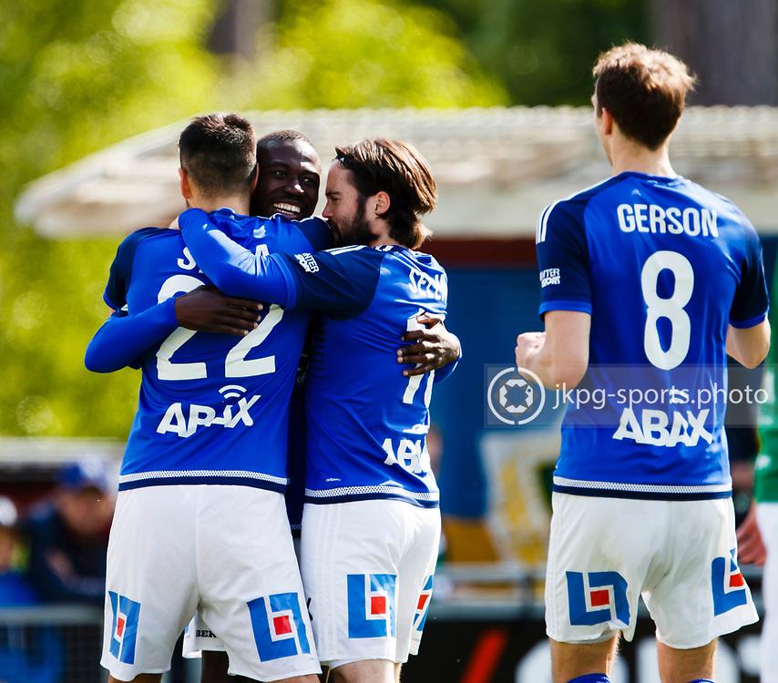 160528 Fotboll, Allsvenskan, J&ouml;nk&ouml;ping - Sundsvall<br /> M&aring;lskytten efter m&aring;l 0-1 (22) Stefan Silva, GIF Sundsvall jublar tillsammans med (14) Pa Amat  Dibba, (18) Robbin Sellin och (8) Lars Christian Krogh Gerson.<br /> &copy; Daniel Malmberg/Jkpg Sports Photo