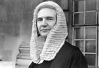Michael Patrick Nolan, QC, English Bar, photographed on the occasion of his being called to the N Ireland Bar, November 1974. He subssequently became a judge and received a life peerage as Baron Nolan.  There was a legal tradition in his family which moved from Ireland to Britain in the mid 1800's. 197411000634<br /> <br /> Copyright Image from Victor Patterson, 54 Dorchester Park, Belfast, UK, BT9 6RJ<br /> <br /> Tel: +44 28 9066 1296<br /> Mob: +44 7802 353836<br /> Voicemail +44 20 8816 7153<br /> Skype: victorpattersonbelfast<br /> Email: victor@victorpatterson.com<br /> Email: victorpatterson@me.com (back-up)<br /> <br /> IMPORTANT: If you wish to use this image or any other of my images please go to www.victorpatterson.com and click on the Terms & Conditions. Then contact me by email or phone with the reference number(s) of the image(s) concerned.
