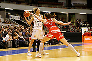 Paoline Salagnac of Lyon and Kim Gaucher-Smith of Mondeville during the Women's French Championship Basketball match between Lyon Asvel Feminin and USO Mondeville on January 26, 2018 at Palais des Sports de Gerland in Lyon, France - Photo Romain Biard / ISports / ProSportsImages / DPPI