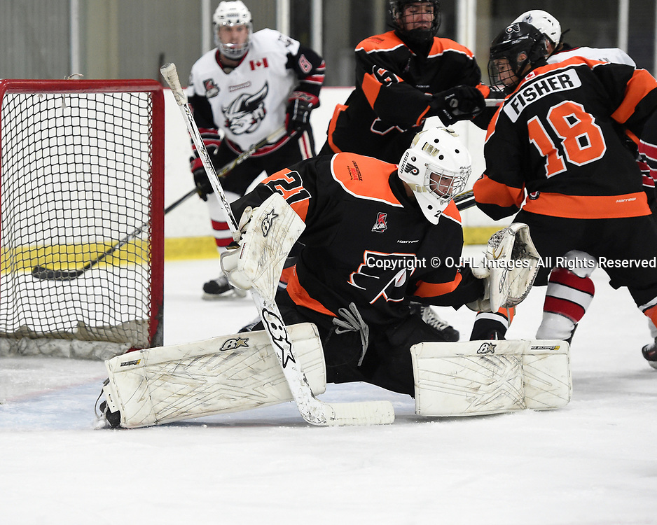 ORANGEVILLE, ON  - NOV 3,  2017: Ontario Junior Hockey League game between the Orangeville Flyers and the Georgetown Raiders, Brendon Landry #21 of the Orangeville Flyers protects the crease during the first period.<br /> (Photo by Andy Corneau / OJHL Images)