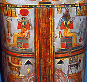 Painted wooden coffin of Denytenamun, Incense-Bearer of the temple of Amun. Early 22nd Dynasty, about 945-850 BC from Thebes. The decoration of the lid includes many allusions to rebirth through the agency of the sun god.