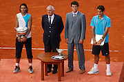 Roland Garros. Paris, France. June 10th 2007..Men's Final..Rafael NADAL won against Roger FEDERERFrom left to right: Christian BÎMES, Rafael NADAL, Gustavo KUERTEN, Roger FEDERER.