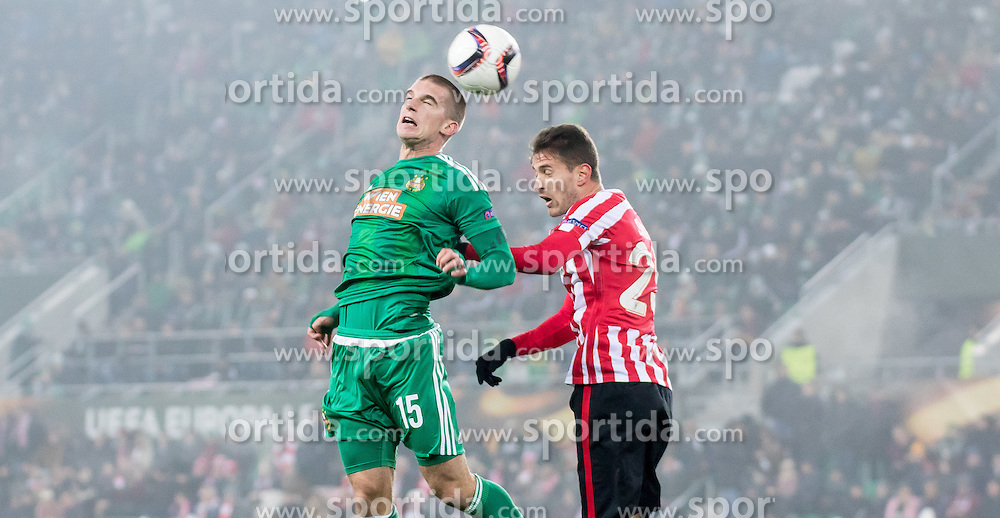 08.12.2016, Weststadion, Wien, AUT, UEFA EL, SK Rapid Wien vs Athletic Club Bilbao, Gruppe F, im Bild Srdjan Grahovac (SK Rapid Wien), Enric Saborit (Athletic Club Bilbao) // during a UEFA Europa League, group F game between SK Rapid Wien and Athletic Club Bilbao at the Weststadion, Vienna, Austria on 2016/12/08. EXPA Pictures © 2016, PhotoCredit: EXPA/ Sebastian Pucher