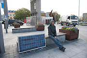 Ray from the Occupy Galway protest managed to rescue his solar panel before being ejected from the protest village in Eyre Square Galway. Photo:Andrew Downes