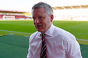 Northampton Town Manager Chris Wilder  during the Sky Bet League 2 match between Northampton Town and Crawley Town at Sixfields Stadium, Northampton, England on 19 April 2016. Photo by Dennis Goodwin.