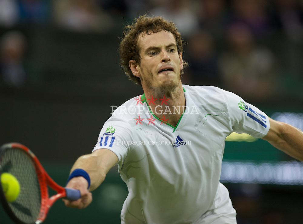 LONDON, ENGLAND - Monday, June 20, 2011: Andy Murray (GBR) in action during the Gentlemen's Singles 1st Round on day one of the Wimbledon Lawn Tennis Championships at the All England Lawn Tennis and Croquet Club. (Pic by David Rawcliffe/Propaganda)
