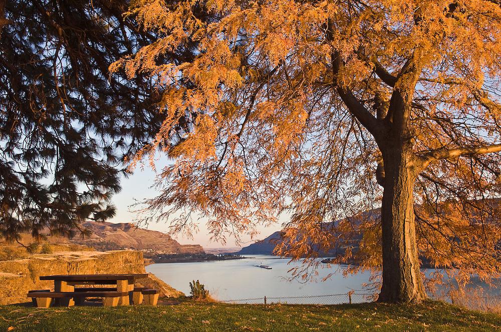 Chamber Lake Rest Area on Washington Highway 14 overlooking the Columbia River Gorge near Lyle, Washington.