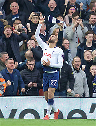 LIVERPOOL, ENGLAND - Sunday, March 31, 2019: Tottenham Hotspur's Lucas Moura celebrates scoring the first equalising goal during the FA Premier League match between Liverpool FC and Tottenham Hotspur FC at Anfield. (Pic by David Rawcliffe/Propaganda)